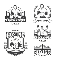 Set of vintage boxing emblems vector image