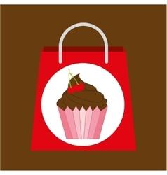shopping bag cupcake vector image