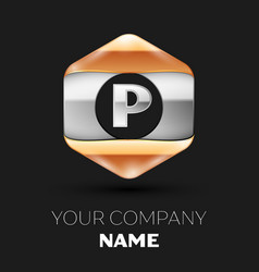 Silver letter p logo in silver-golden hexagonal vector