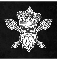 Skull crown and royal scepter vector image