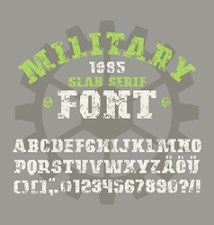Slab serif font in military style vector