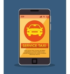 smartphone with app service taxi vector image