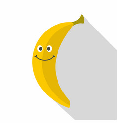 smiling banana icon flat style vector image