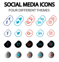 Social media icons set - with unique themes vector