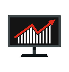 Statistics on monitor icon flat style vector