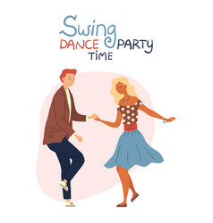 Swing dance party time concept isolated on the vector