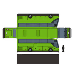 The paper model of a green bus vector