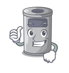 Thumbs up cartoon steel trash can in the door vector