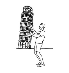 Tourist push leaning tower pisa vector