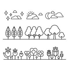 Trees Flower And Sky Countour Black White Set vector