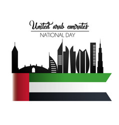 Uae flag with building to national day celebration vector