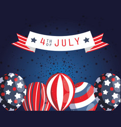 Usa balloons and 4th july ribbon design vector