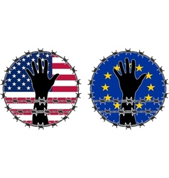 Violation human rights in usa and eu vector