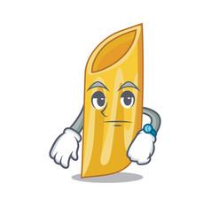 Waiting penne pasta character cartoon vector
