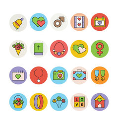 Wedding Colored Icons 3 vector image