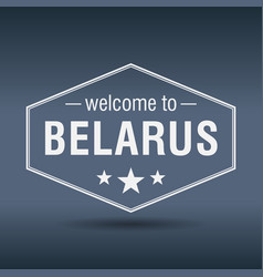 Welcome to belarus hexagonal white vintage label vector