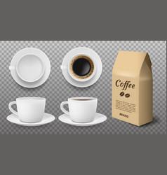 white cup mockup realistic blank and coffee mug vector image