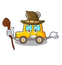 Witch cartoon clockwork toy car for gift vector