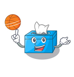 With basketball character tissue box on wood vector