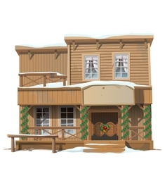 Wooden classic saloon decorated for christmas vector