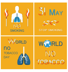 world no tobacco day lungs stop smoking vector image