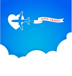 Airplane with announcement banner and blue sky vector image