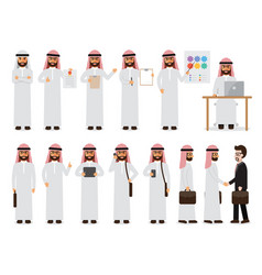 arab businessman characters in action vector image vector image