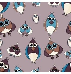 Brown and blue cute owl seamless pattern vector image