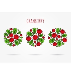 Cranberry round labels creative concept vector image
