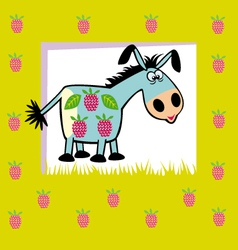fruit donkey on green vector image vector image