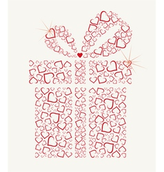 happy valentines day gift with hearts vector image