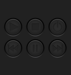 media player black buttons on dark background vector image