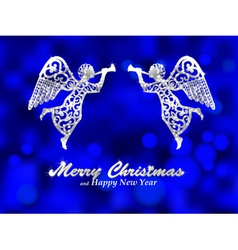 Merry Christmas blue background with silver angel vector image vector image