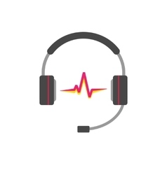Music logo support headphones with read vector image