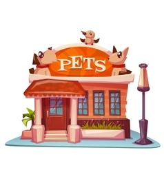 Pet shop building with bright banner vector image vector image