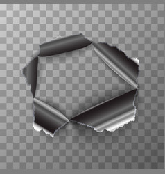 torn hole in glossy metal plate on transparent vector image vector image