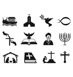 black christian religious icons set vector image
