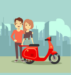 cute cartoon young lovers and bike on city vector image