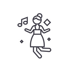 disco dancing girl concept thin line icon vector image