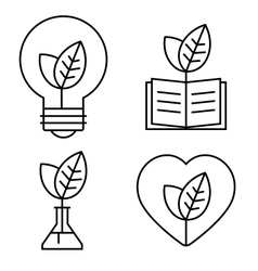 Ecology thin set vector image vector image
