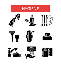 hygiene thin line icons linear flat vector image