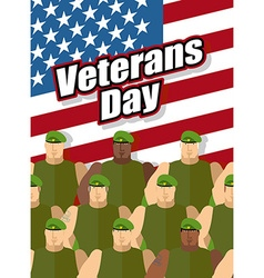 Veterans Day American soldiers are on background vector image