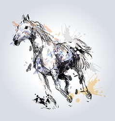 Colored hand drawing horse vector