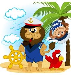 lion captain and monkey sailor vector image