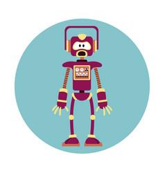 Robot intelligence artificial circle icon vector
