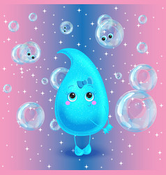 Water drop character Cute cartoon vector image vector image