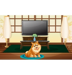 A cute dog inside the house vector image