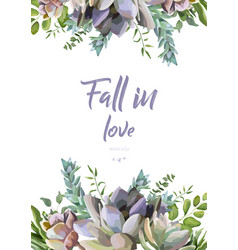 floral card design succulent flower plant vector image