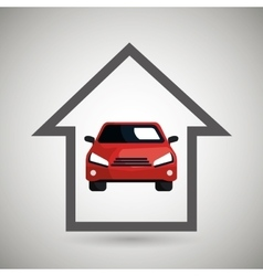 smart home with car isolated icon design vector image