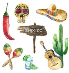 Watercolor mexico icons vector image